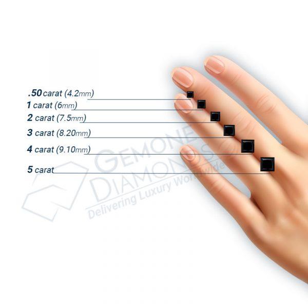 princess cut black diamond on hand