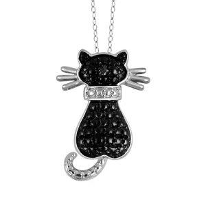 black diamond cat pendant