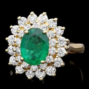 Natural Emerald Diamond Engagement Ring
