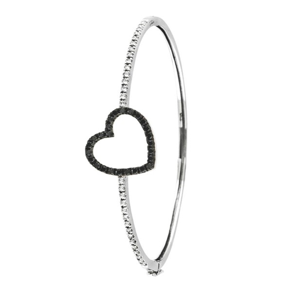 black and white diamond heart bracelet