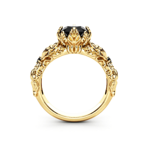 14K Yellow Gold Leaves Engagement Ring