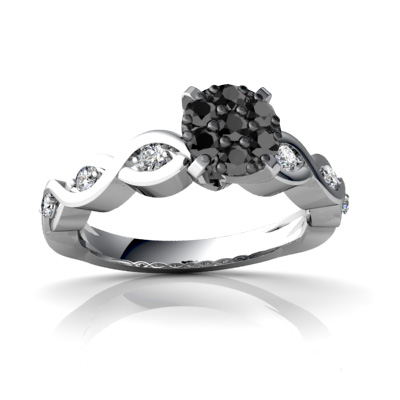 Cheap White Gold Wedding Rings With Black And White Diamonds Online