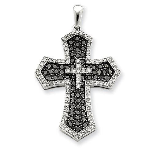 Diamond cross pendant in 14k white gold for christmas sale online 14k white gold natural 170 carat black and white diamond cross pendant for necklace 14k white gold natural 075 ct black and white diamond star pendant mozeypictures Gallery