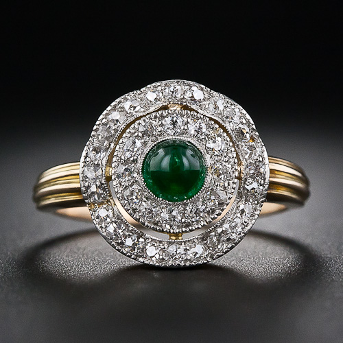 gift frame gemstone diamond row diam gold emerald white art diamonds deco double mothers engagement cabochon ring day rings
