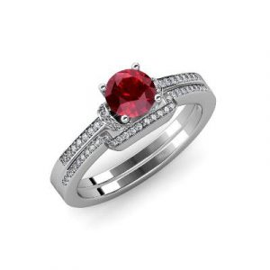 ruby bridal set ring