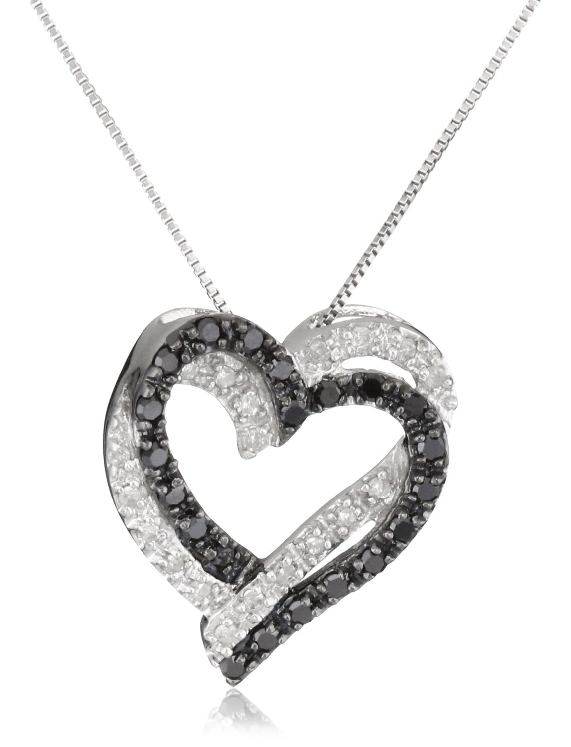 Buy black diamond pendant online gemonediamond 14k white gold natural 060 ct black and white diamond fancy double heart pendant necklace mozeypictures Choice Image