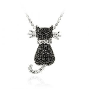 diamond cat pendant
