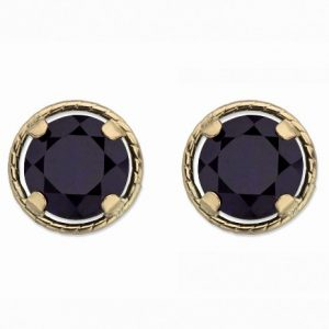 yellow gold black diamond stud earring