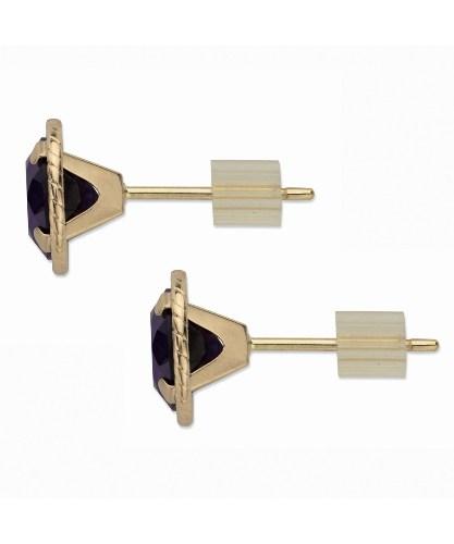 yellow gold black diamond stud earring
