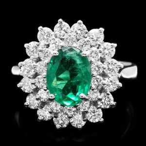 natural emerald diamond ring