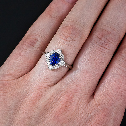 Blue Sapphire Ring In 14K White Gold From Gemone Diamonds Online