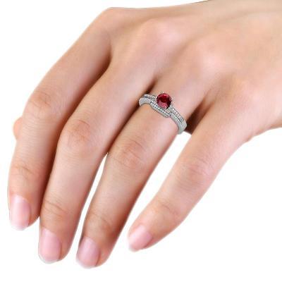 ruby bridal set ring