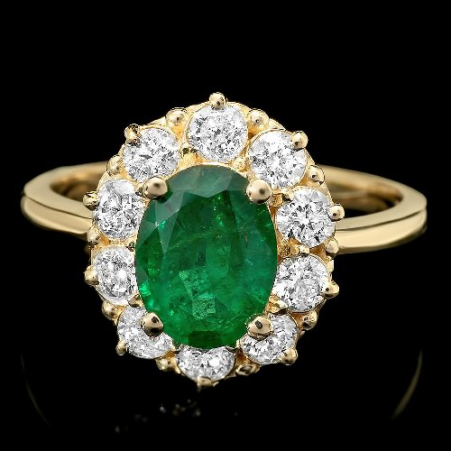 Natural Emerald Ring In 14K Yellow Gold For Sale