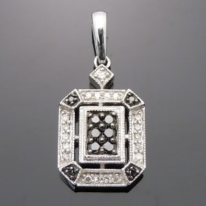black and white diamond Square Pendant