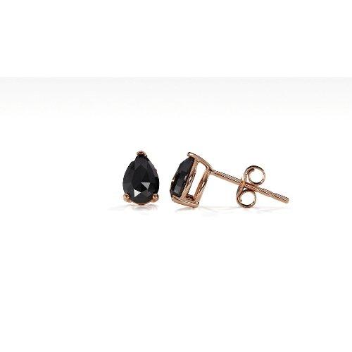 black pear rose cut stud earrings