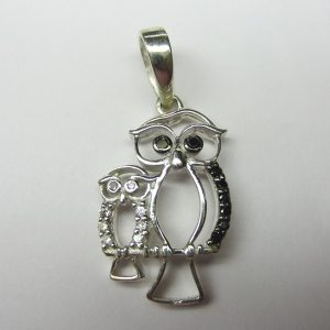 diamond owl pendant