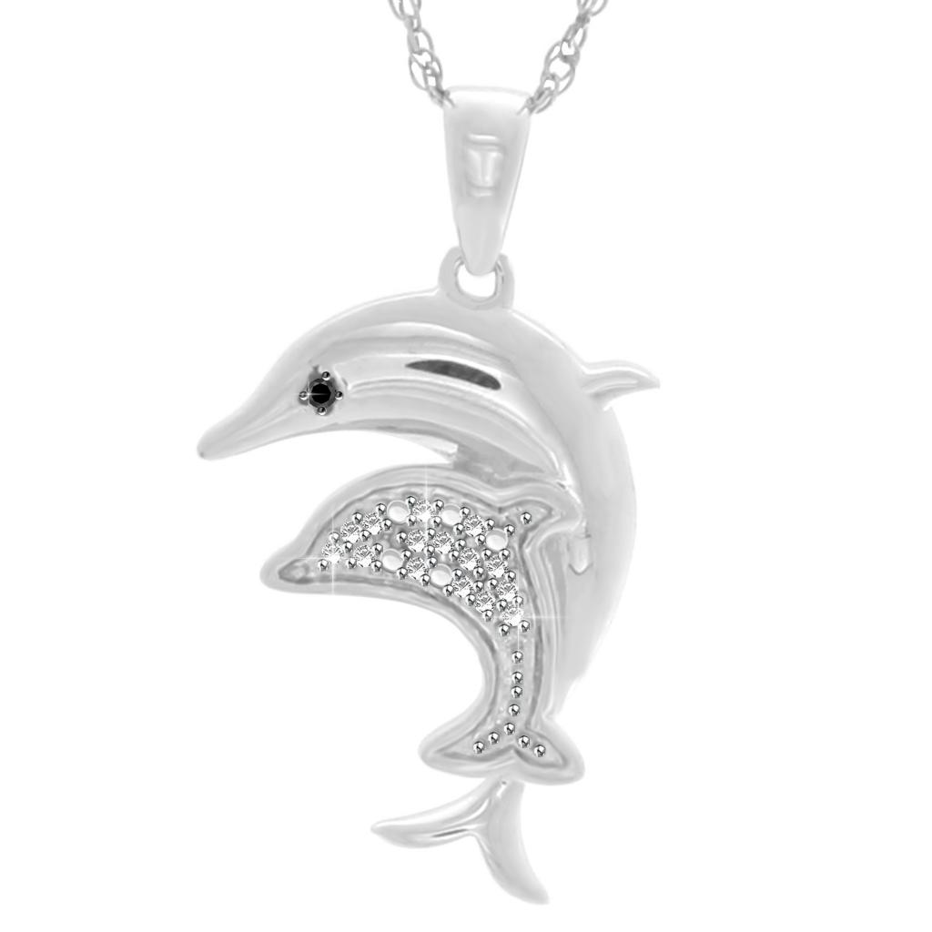 silver itm women blue her necklace for jewelry pendant dolphin sterling