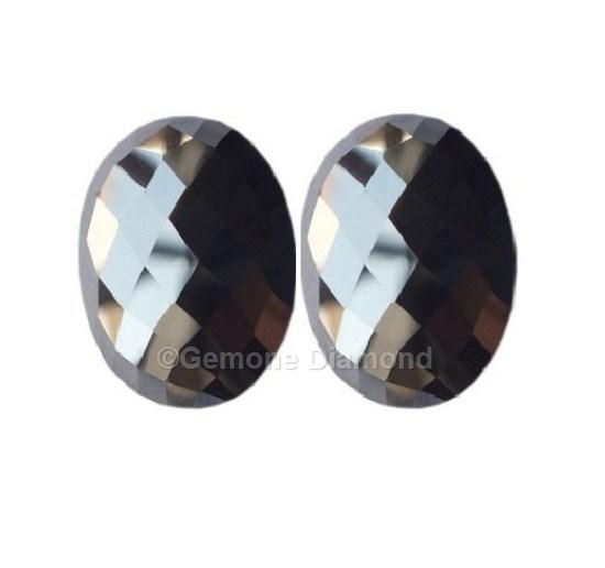 4 Carat Oval Cut Black Diamonds Pair