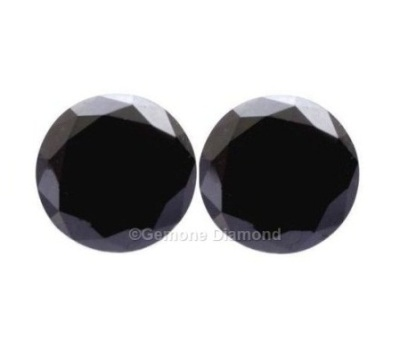 1 Carat Pair Of Round Cut Black Diamonds Aaa Quality For Stud Earrings At Price 2 Natural And Brilliant Shape From