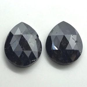 Pear Cut Black Diamonds Pair