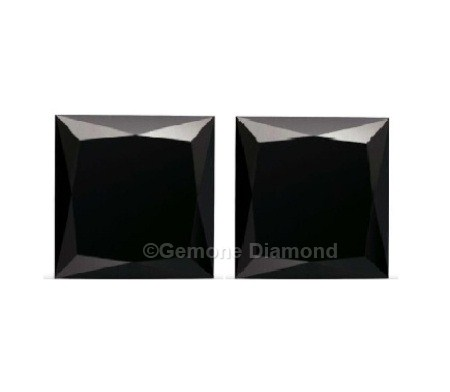 Aaa Quality 1 Carat Princess Cut Black Diamonds Pair Online In Jet Color For Stud Earrings 2 Natural Loose