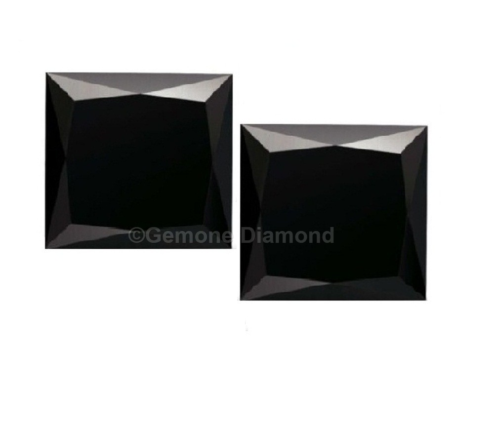 2 Carat Aaa Quality Natural Loose Princess Cut Black Diamonds Pair For Earrings 3