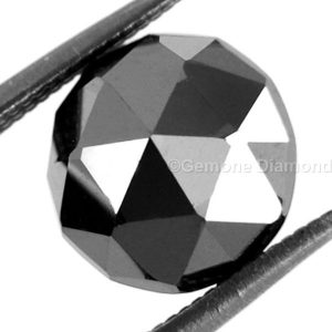 natural round rose cut black diamond