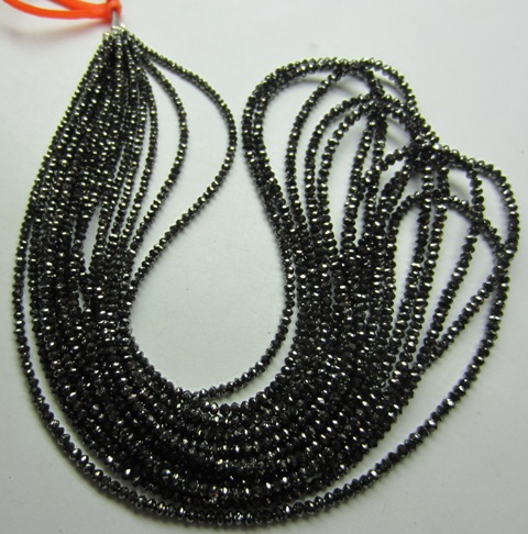 Loose Black Diamond Faceted Beads Necklace In 16 Carat For