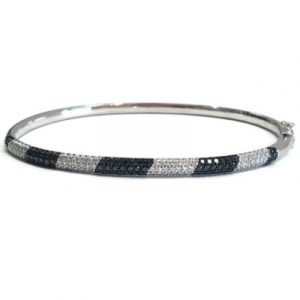 black and white diamond bangle bracelet