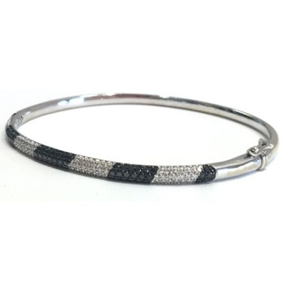 black and white diamond bangle bracelet