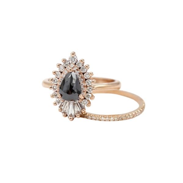 black diamond pear engagement ring