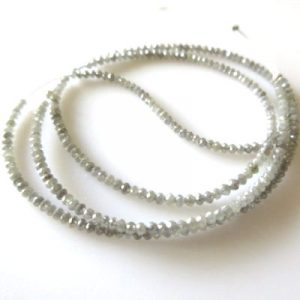 faceted gray diamond beads necklace
