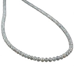 gray faceted diamond beads necklace