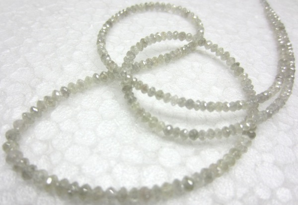 gray loose diamond faceted beads necklace
