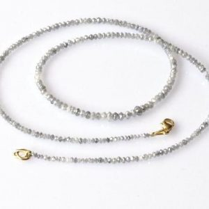 white diamond faceted beads necklace