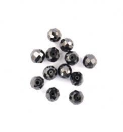 black diamond faceted beads
