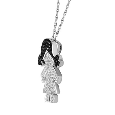 Girl pendant necklace with black and diamonds from gemone diamonds 14k white gold natural 090 ct black and white diamond girl pendant necklace aloadofball Images