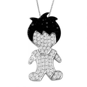 white diamond boy shape pendant