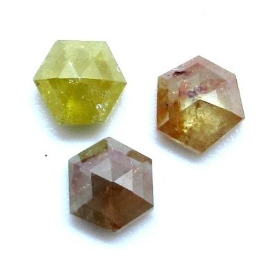 rose cut hexagon rustic diamonds