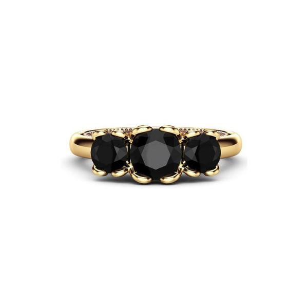 art deco three stone ring