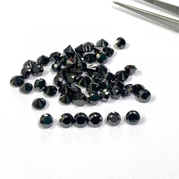 1 Ct Lot Calibrated Natural Round Black Diamond 1.30 MM To 1.60 MM