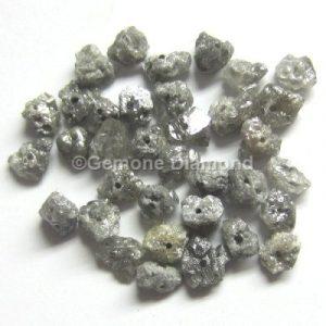 Gray rough raw loose diamond beads