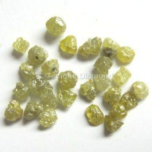 natural yellow rough uncut loose diamond beads