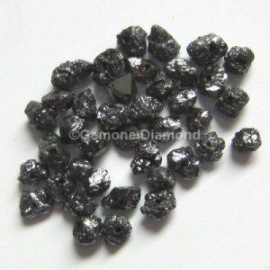 black rough uncut loose diamonds beads