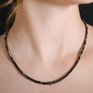 loose black diamond faceted beads necklace