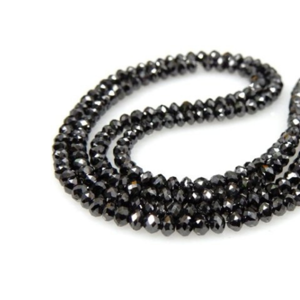 Black Loose Diamond Faceted Beads Necklace