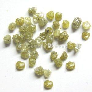 yellow uncut loose diamonds beads