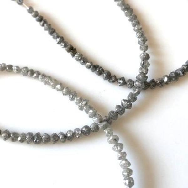 Gray Raw Uncut Diamond Strand