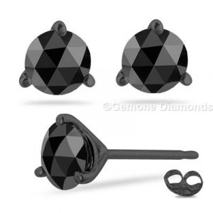 rose cut black diamond stud earrings in black rhodium