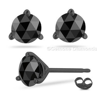 0 50 Carat Natural Black Rose Cut Diamond Earrings In Rhodium 14k White Gold Loose Round Brilliant From